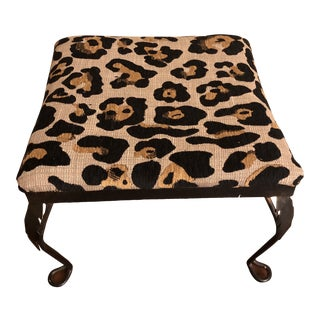 1970s Leopard Pattern Iron Footstool For Sale