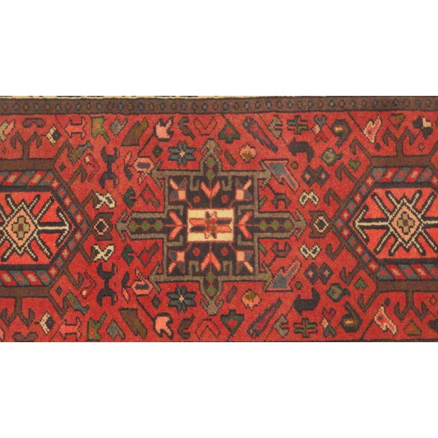 """Traditional Persian Heriz Runner Rug - 10'7"""" x 2'2"""" For Sale - Image 3 of 5"""