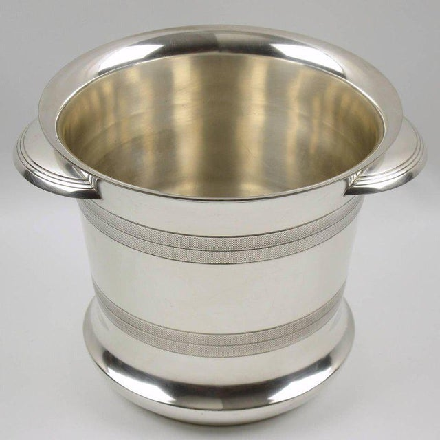 French Art Deco Modernist Silver Plate Champagne Bucket, Wine Cooler - Image 6 of 7