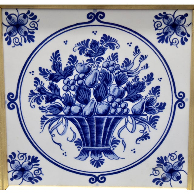 Mid-20th Century Dutch Delft Floral Gilt Wood Framed Tiles - a Pair For Sale - Image 12 of 13