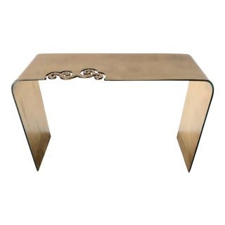 Italian Gold Glass Console Table with Swarovski Strass Crystals For Sale