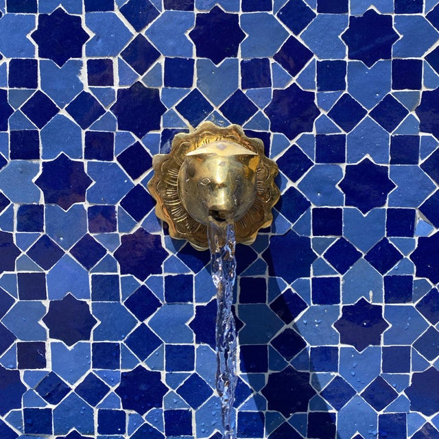Blue Moroccan Arch Tile Fountain For Sale In Los Angeles - Image 6 of 7