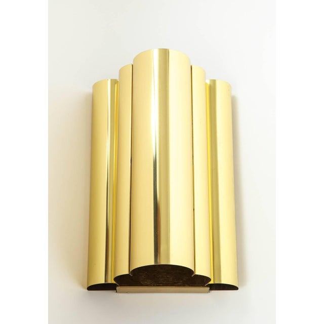 Curtis Jere 1970s Jere Style Modern Brass Sconces - a Pair For Sale - Image 4 of 5