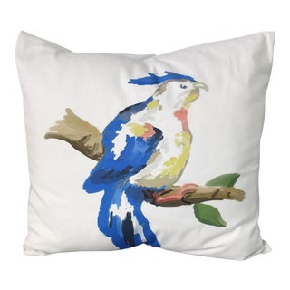 Dana Gibson Handpainted Blue Parrot Pillow