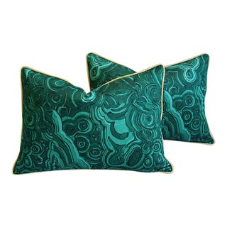"25"" X 18"" Custom Tailored Jim Thompson Malachite Green Feather/Down Pillows - Pair For Sale"
