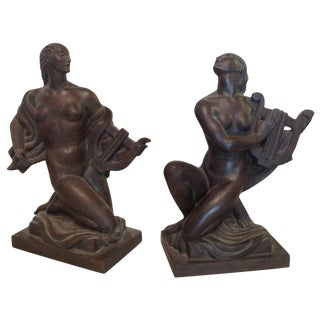 """""""Lady With a Lyre"""" Sculptures by Wheeler Williams - a Pair For Sale"""