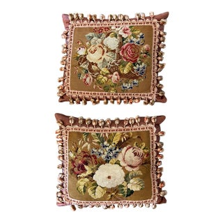 Silk Mohair in Tapestry Hand Stitched Pillows- a Pair For Sale