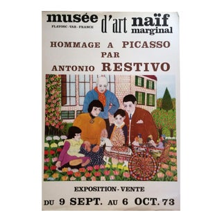 Original French Musee D'Art Naïf Marginal Art Poster by A. Restivo Tribute to Picasso For Sale