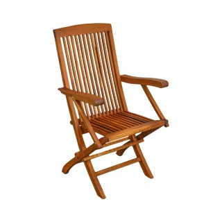 Solid Teak Wood Folding Desk Chair For Sale