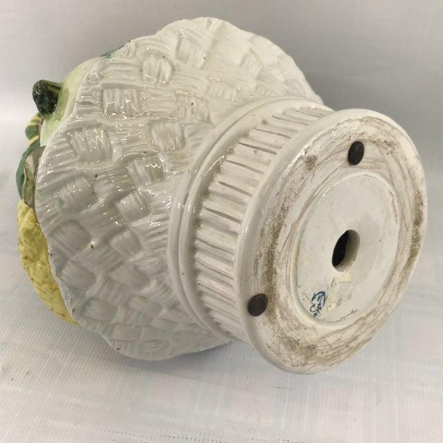 Large Antique Porcelain Vegetable Basket Centerpiece For Sale - Image 9 of 10
