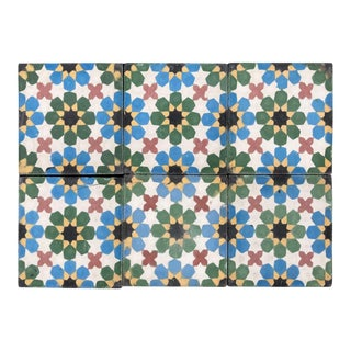 1990s Moroccan Hand-Crafted Encaustic Cement Tiles with Traditional Fez Moorish Design - 6 Pieces For Sale