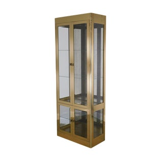 Mastercraft Brass and Glass Lighted Curio Display Vitrine Cabinet For Sale