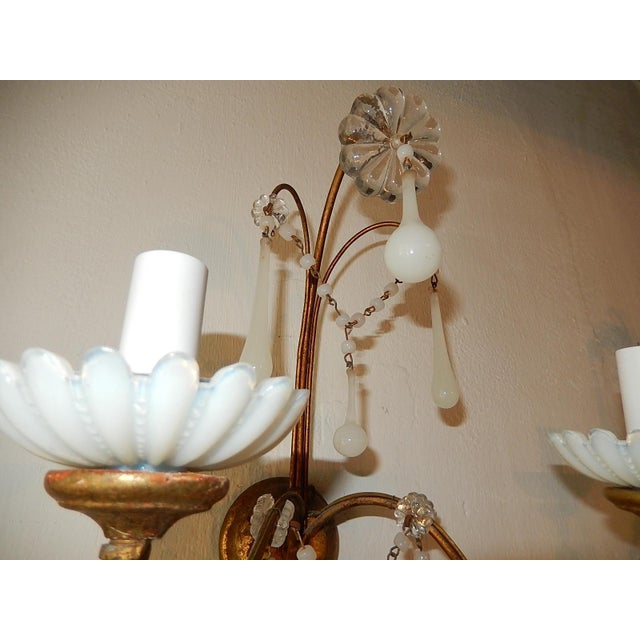 French White Opaline Beads Beaded Sconces, circa 1920 For Sale In Los Angeles - Image 6 of 10