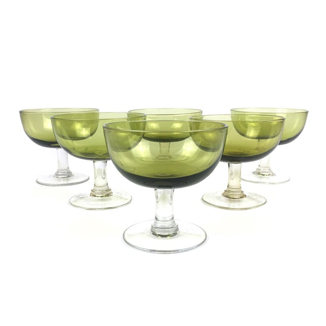 Vintage Green Coupe Cocktail Glasses – Set of 6 For Sale - Image 10 of 10