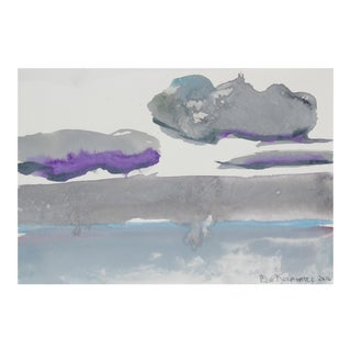 """Silver Horizon"", Abstracted Landscape With Purple and Blue, 2016 For Sale"