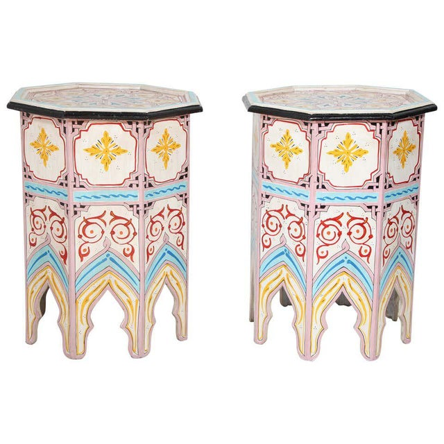 Moroccan Hand Painted Side Tables - a Pair For Sale - Image 13 of 13