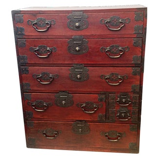 19th Century Japeanese Red Lacquered Tansu Chest