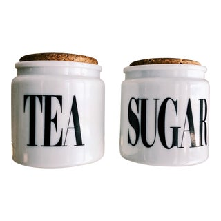 Vintage Milk Glass Sugar & Tea Canister Jars - A Pair For Sale