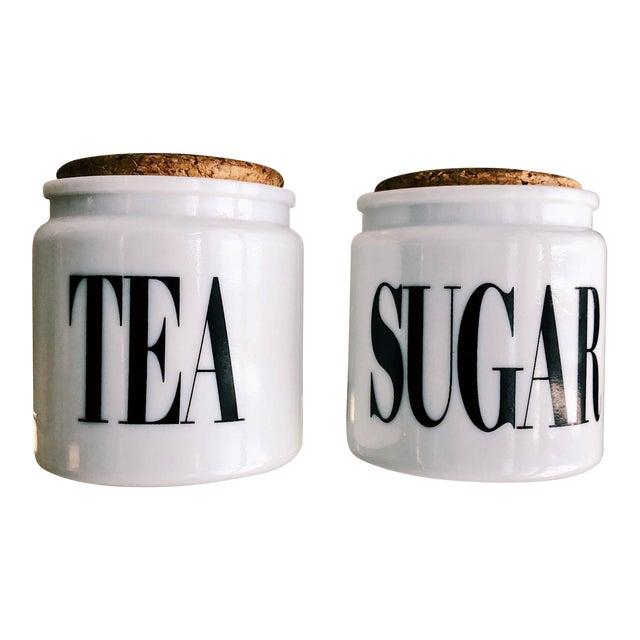 Vintage Milk Glass Sugar & Tea Canister Jars - A Pair For Sale