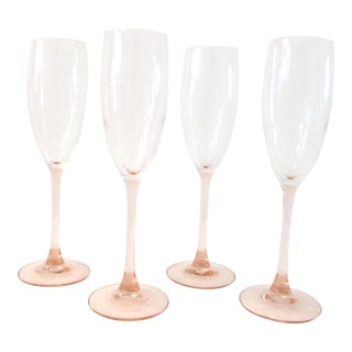 1980s French Blush Pink Champagne Flutes - Set of 4