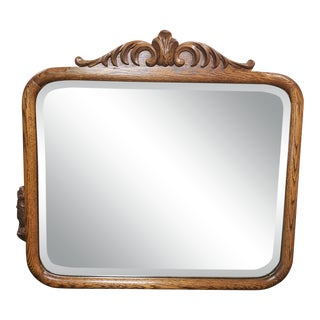 1900 American Arts and Crafts Movement Tiger Oak Beveled Glass Wall Mirror For Sale
