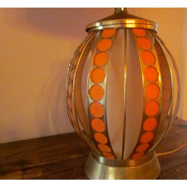Mid Century Modern Orange Dot Brass Lamp - Image 4 of 9