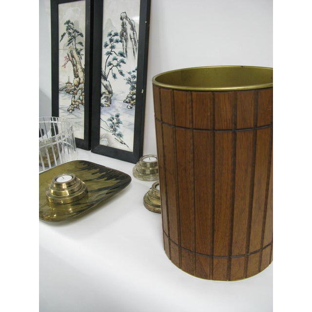 Brown 1960s Walnut Gruvwood Waste Basket by National Products Inc. For Sale - Image 8 of 10