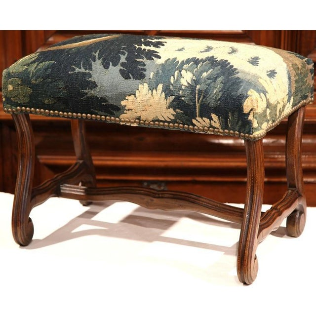 Late 19th Century French Louis XIII Carved Walnut Stool With Aubusson Tapestry - Image 6 of 9