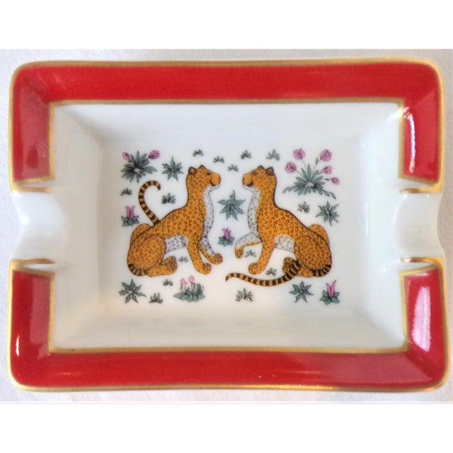 French Vintage Hermes Porcelain Les Leopards Ashtray / Catchall For Sale - Image 3 of 8