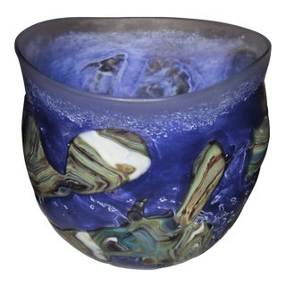 Robert Eickholt Art Glass Bowl - Early - Deep Puple - With Agate Glass For Sale