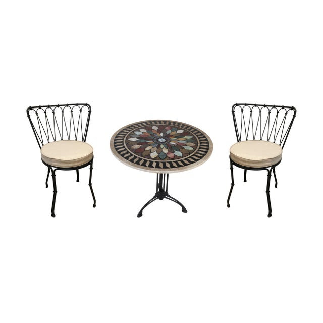 Art Deco Cast Iron Base Table With Pietra Dura Specimen Top and 4 Iron Chairs For Sale - Image 13 of 13