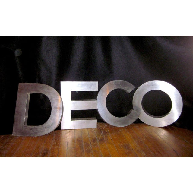 "1970s Vintage""Deco"" Stainless Steel Phrase Display Letters Advertising Signage For Sale - Image 5 of 9"