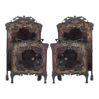 Pair of French Art Nouveau Iron Single Beds For Sale