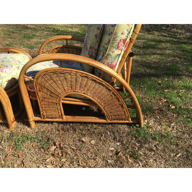 Vintage Palecek Bamboo Recliner Chair & Ottoman - A Pair For Sale - Image 4 of 7