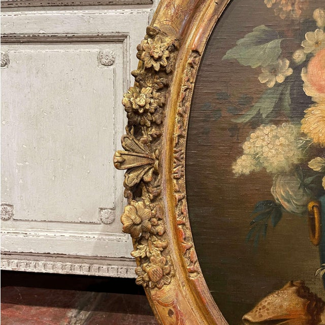 19th Century French Oval Oil on Board Floral Painting in Carved Gilt Frame For Sale In Dallas - Image 6 of 12