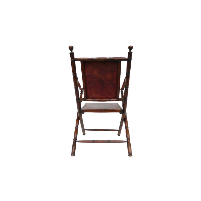 Campaign Style Leather & Ash Folding Chairs - Pair - Image 7 of 10