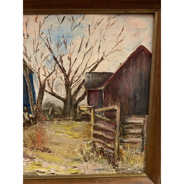 Mid-Century Modern Farm and Barn Original Oil Painting on Board Signed For Sale - Image 4 of 8