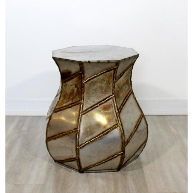 For your consideration is an appealing, Argente style, welded metal, drum side or end table, circa the 1970s. In excellent...