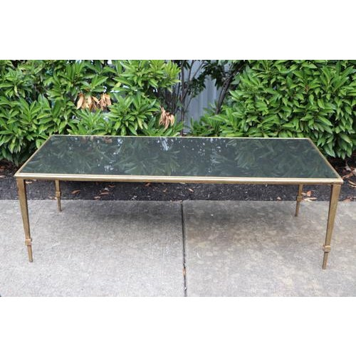 1960s Maison Janson Style Brass Coffee Table With Smoked Glass For Sale - Image 5 of 9
