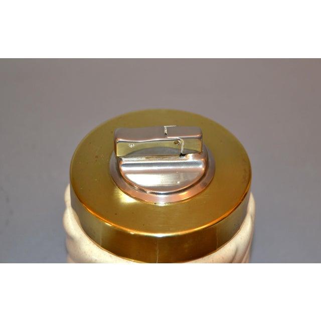 Gold Mid-Century Modern Tommaso Barbi Beige Ceramic & Brass Lighter Italy, Signed For Sale - Image 8 of 11