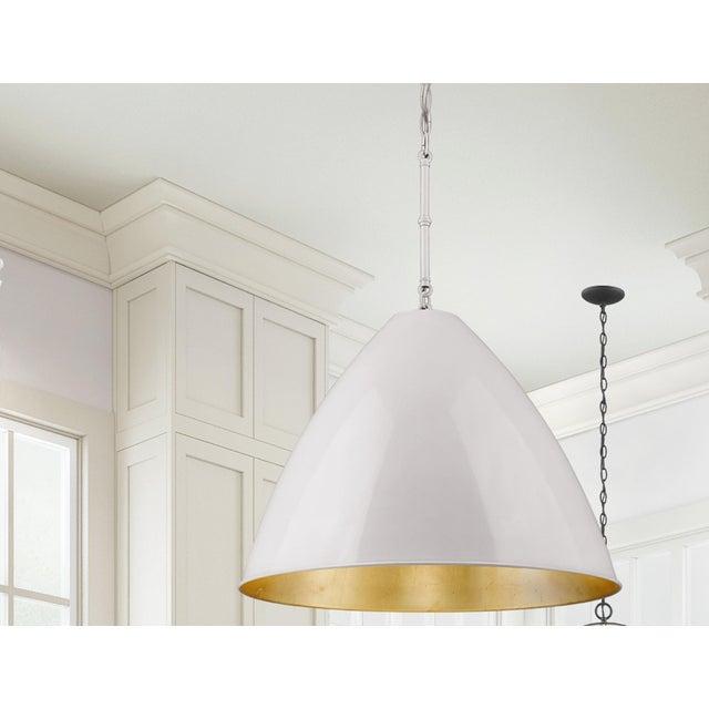 Lenox 1 Light Rod Pendant, Ceramic White and Gold Leaf For Sale In Atlanta - Image 6 of 6