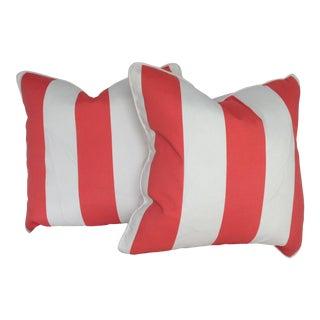 Nautical Custom Sunbrella Awning Stripe Pillows - a Pair For Sale