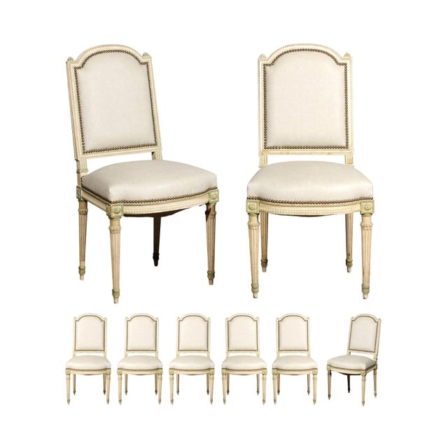 Set of Eight French Louis XVI Style Painted Dining Chairs with New Upholstery For Sale - Image 13 of 13