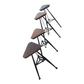Walnut and Steel Bar Stool Set of 4 For Sale