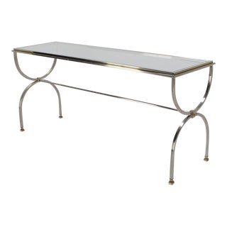 1960s Mid-Century Modern Chrome Brass and Glass Top Console Sofa Table For Sale