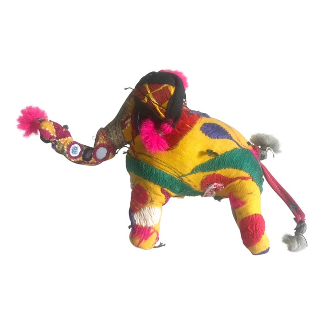 Vintage Indian Patchwork Elephant Figurine For Sale