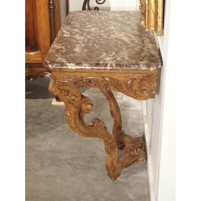 Early 18th Century Oak Regence Console With Rouge Marble Top For Sale - Image 11 of 13