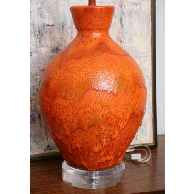 Pair of Monumental Sized Orange Mottled Glaze Ceramic Lamps For Sale - Image 4 of 8