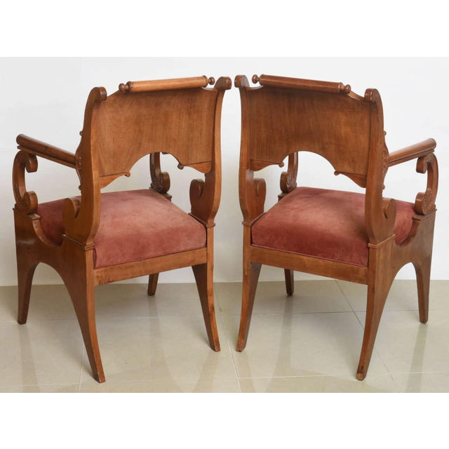 Set of Four Russian Neoclassic Mahogany Armchairs For Sale - Image 4 of 9