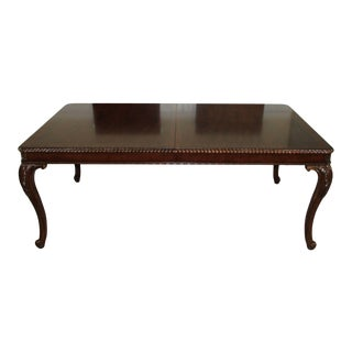 Drexel Queen Anne Banded Mahogany Dining Room Table For Sale